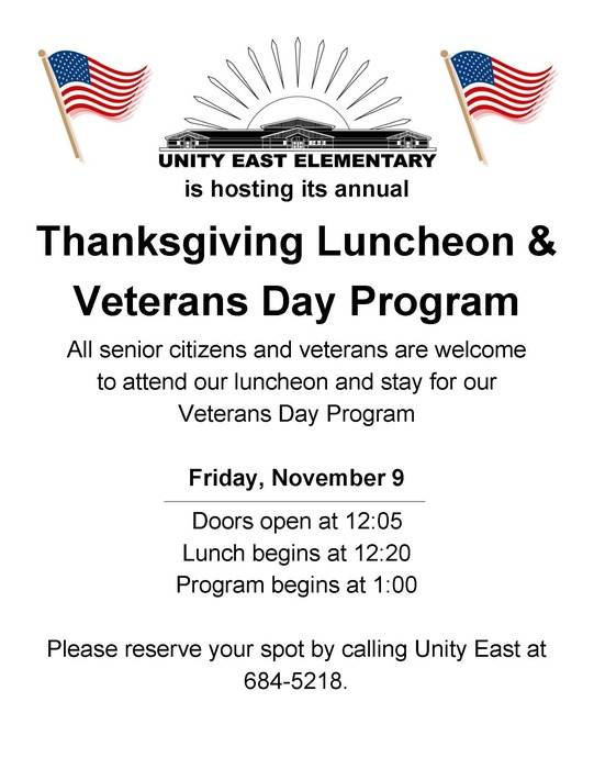 Thanksgiving Luncheon & Veterans Day Program Flyer